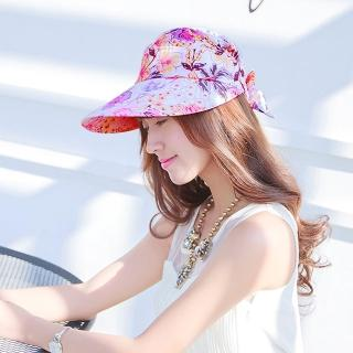 【Seoul Show】可拆式兩用外出碎花防曬遮陽帽 白粉花