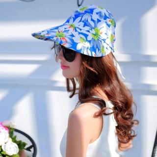 【Seoul Show】可拆式兩用外出碎花防曬遮陽帽 亮藍花