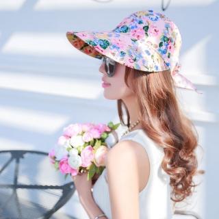 【Seoul Show】可拆式兩用外出碎花防曬遮陽帽 柔粉花