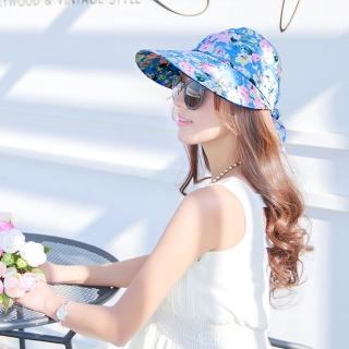 【Seoul Show】可拆式兩用外出碎花防曬遮陽帽 淺藍花