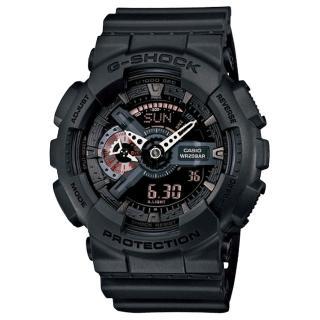 【CASIO】卡西歐G-SHOCK 抗磁雙顯重機鬧鈴電子錶-黑(GA-110MB-1A)