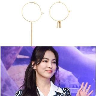 【梨花HaNA】韓國空運太陽的後裔宋慧喬不對襯大圈掛勾耳環