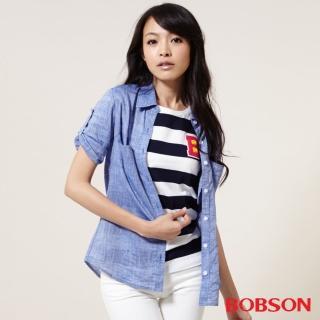 【BOBSON】女款七分袖棉麻布襯衫(25138-57)