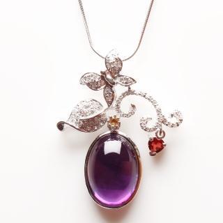 【寶石方塊】沂水春風天然紫水晶項鍊-925銀飾