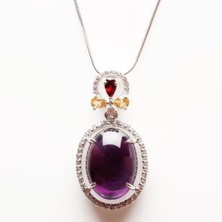 【寶石方塊】詠雪之才天然紫水晶項鍊-925銀飾