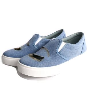 【CHIARA FERRAGNI】布面鏤空眨眼睛厚底鞋(牛仔藍)