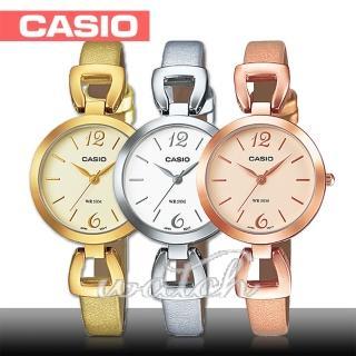 【CASIO 卡西歐】日系玫瑰金系列-小徑面造型皮革女錶(LTP-E402PL)