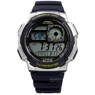 【CASIO 卡西歐】就愛冒險電子橡膠腕錶 深藍色 46mm(AE-1000W-2A)