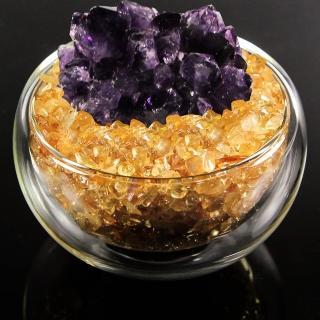 【A1寶石】日本頂級天然紫水晶花/黃水晶聚寶盆-招財轉運居家風水必備(含開光加持)