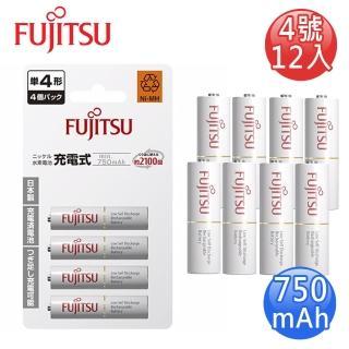 【FUJITSU富士通】低自放750mAh充電電池組(4號12入)