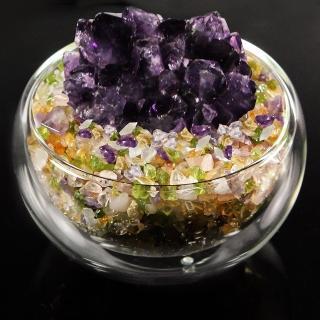 【A1寶石】日本頂級天然紫水晶花/五行水晶聚寶盆-招財轉運居家風水必備(含開光加持)
