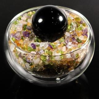 【A1寶石】日本頂級天然五行晶/黑瑪腦水晶球聚寶盆-招財轉運居家風水必備(含開光加持)