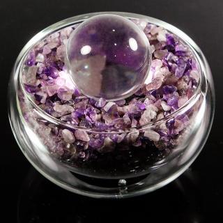 【A1寶石】日本頂級天然紫水晶/白水晶聚寶盆-招財轉運居家風水必備(含開光加持)