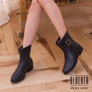 【Alberta】復古時尚側扣 防水低粗跟 中筒雨靴 下雨天超適用 多色可選(黑色)