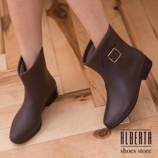 【Alberta】復古時尚側扣 防水低粗跟 中筒雨靴 下雨天超適用 多色可選(棕色)