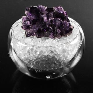 【A1寶石】本頂級天然紫水晶花/白水晶聚寶盆-招財轉運居家風水必備(含開光加持)