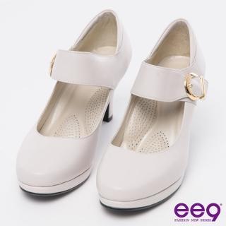 【ee9】芯滿益足-通勤私藏進口牛皮魔鬼氈飾扣素面高跟鞋*粉色(素面高跟鞋)