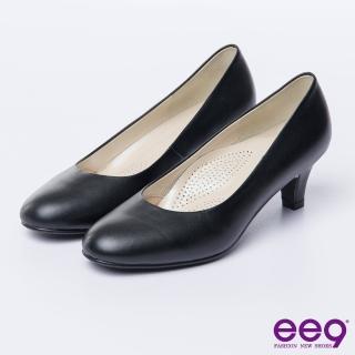 【ee9】心滿益足-都會經典舒適優雅素面百搭通勤跟鞋*黑色(跟鞋)