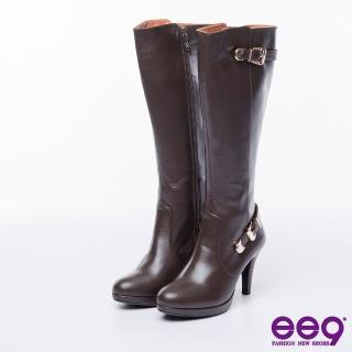 【ee9】MIT經典手工-都會優雅簡約金屬扣環繫帶百搭高跟長筒靴-咖色(長筒靴)