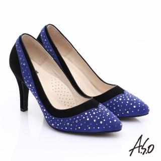 【A.S.O】輕透美型 全真皮雙材質水鑽高跟鞋(藍)