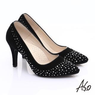【A.S.O】輕透美型 全真皮雙材質水鑽高跟鞋(黑)