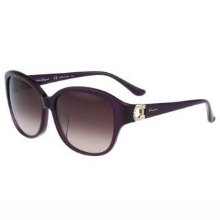 【Salvatore Ferragamo】- 時尚太陽眼鏡(紫色)