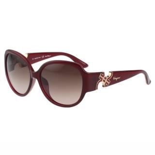 【Salvatore Ferragamo】- 時尚 太陽眼鏡(紅色)
