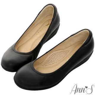 【Ann'S】奔跑彈力款全真羊皮楔型包鞋(黑)
