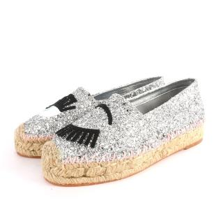 【CHIARA FERRAGNI】眼睛草編鉛筆鞋(銀色粉邊)