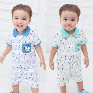 【baby童衣】嬰兒連身衣  短袖前排開扣爬服 音樂家款 60144(共2色)