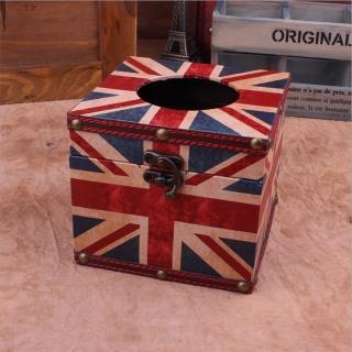 【PUSH! 居家生活用品】英倫風 紙巾盒 面紙盒 衛生紙抽取收納盒餐桌紙巾型(I33)