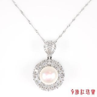 【寶石方塊】高貴優雅天然珍珠項鍊-925銀飾
