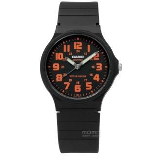 【CASIO 卡西歐】休閒百搭橡膠腕錶 橘x黑 33mm(MQ-71-4B)