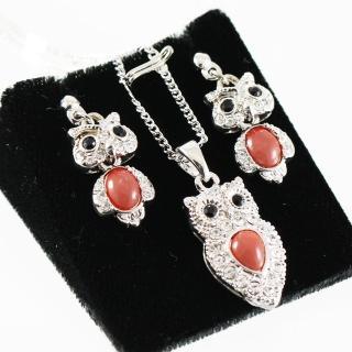 【金玉滿堂】經典貓頭鷹天然紅珊瑚套組