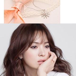 【梨花HaNA】韓國空運太陽的後裔宋慧喬925銀太陽花飾水鑽項鍊