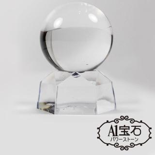 【A1寶石】消災解厄招偏財風-白水晶球擺件(含開光加持)