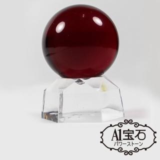 【A1寶石】開運招財旺運風水-紅色水晶球擺件(含開光加持)