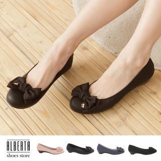 【Alberta】熱賣嚴選 素面蝴蝶結金屬飾品 小坡跟圓頭包鞋 娃娃鞋(黑色)
