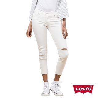 【Levis】711白色破壞中腰緊身窄管輕磅丹寧牛仔褲-亞洲版
