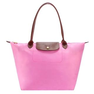【Longchamp】經典長提把大型尼龍水餃包(粉紅色)