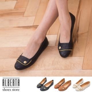 【Alberta】OL實搭術 鈕釦拼接拉鍊 舒適好穿 圓頭平底鞋 娃娃鞋(黑色)