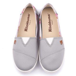 【童鞋城堡】拉拉熊 女款 素色簡約帆布休閒鞋(KM82029-灰)
