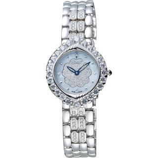 【Ogival】愛其華 山茶花系列珍珠貝真鑽女錶-藍貝x銀/28mm(305-16DLW)