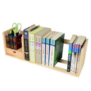 【LIFECODE】極簡風松木桌上型書架(單抽屜)