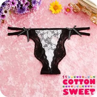【棉花甜】鍾情裸色蕾絲雙帶 丁字褲(黑 B-170)