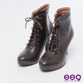 【ee9】MIT經典手工-都會經典百搭素面綁帶拉鏈短筒靴*咖色(短筒靴)
