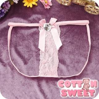 【棉花甜】希臘女神單片寬蕾絲 丁字褲(粉 B-228)