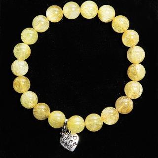 【A1寶石】雙倍吸金-頂級鈦晶、鈦金圓珠手鍊(含開光)