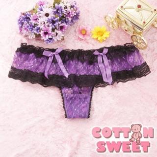 【棉花甜】蘿莉女孩雙蝴蝶結網紗 丁字褲(紫 B-266)