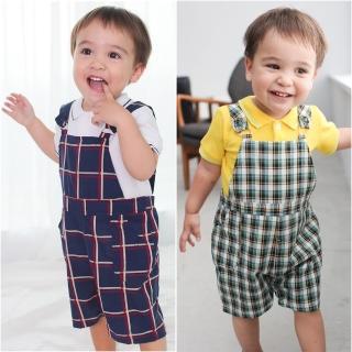 【baby童衣】寶寶套裝  純棉POLO領短袖T恤+格紋吊帶褲套裝 61038(共2色)